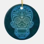 Intricate Blue Sugar Skull Ceramic Ornament