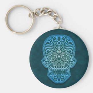 Intricate Blue Sugar Skull Keychain