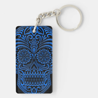 Intricate Blue Sugar Skull on Black Double-Sided Rectangular Acrylic Keychain