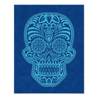 Intricate Blue Sugar Skull Print