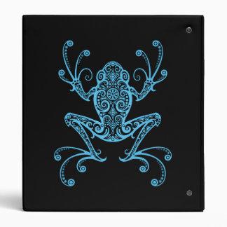Intricate Blue Tree Frog 3 Ring Binders