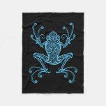 Intricate Blue Tree Frog Fleece Blanket