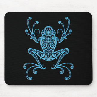 Intricate Blue Tree Frog Mouse Pad