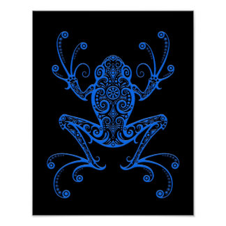 Intricate Blue Tree Frog on Black Poster