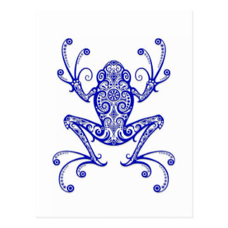 Intricate Blue Tree Frog on White Postcard