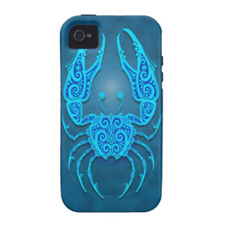 Intricate Blue Tribal Cancer Case For The iPhone 4