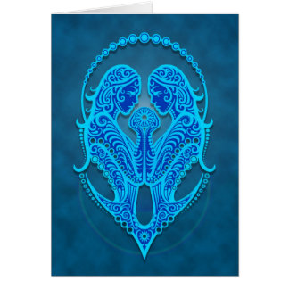 Intricate Blue Tribal Gemini Card