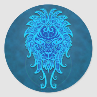 Intricate Blue Tribal Leo Classic Round Sticker