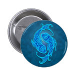 Intricate Blue Tribal Pisces 2 Inch Round Button