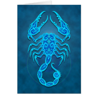 Intricate Blue Tribal Scorpio Card