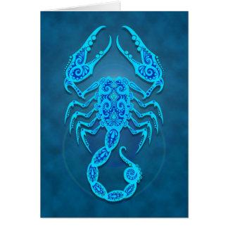 Intricate Blue Tribal Scorpio Card