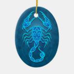 Intricate Blue Tribal Scorpio Ceramic Ornament