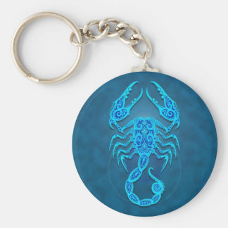 Intricate Blue Tribal Scorpio Keychain