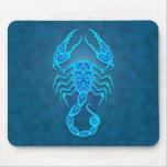 Intricate Blue Tribal Scorpio Mousepads