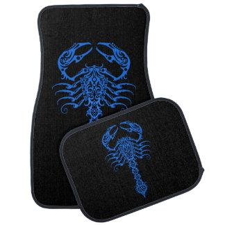 Intricate Blue Tribal Scorpion Car Mat