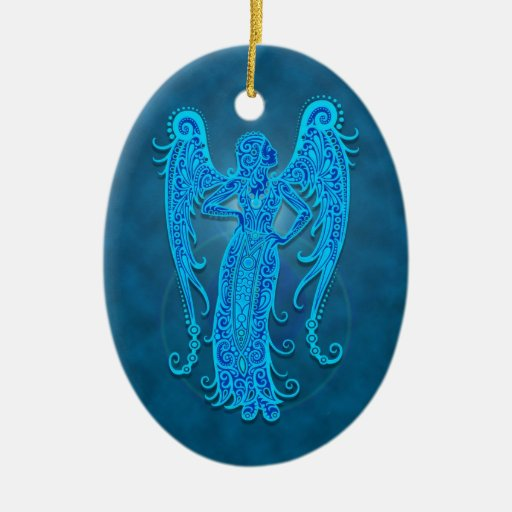 Intricate Blue Tribal Virgo Ceramic Ornament