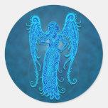 Intricate Blue Tribal Virgo Stickers