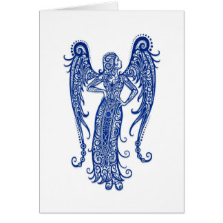 Intricate Blue Virgo Zodiac on White Greeting Card