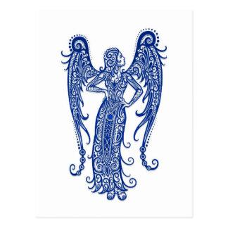 Intricate Blue Virgo Zodiac on White Post Cards