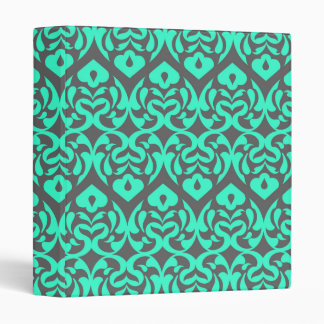 Intricate Bright Teal Heart Pattern Against Gray 3 Ring Binder