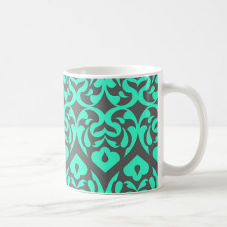 Intricate Bright Teal Heart Pattern Against Gray Mug