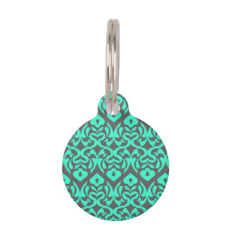 Intricate Bright Teal Heart Pattern Against Gray Pet ID Tag