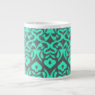 Intricate Bright Teal Heart Pattern Against Gray Extra Large Mugs
