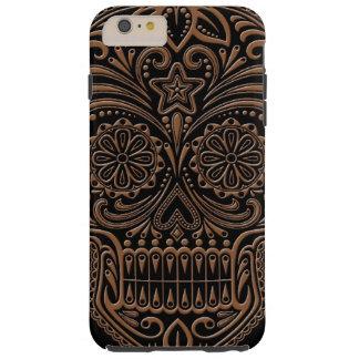 Intricate Brown and Black Sugar Skull Tough iPhone 6 Plus Case