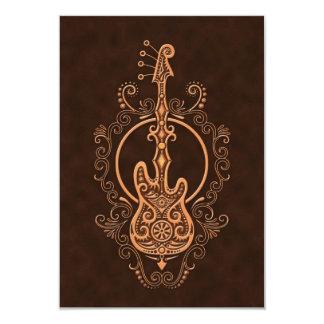 Intricate Brown Bass Guitar Design Card