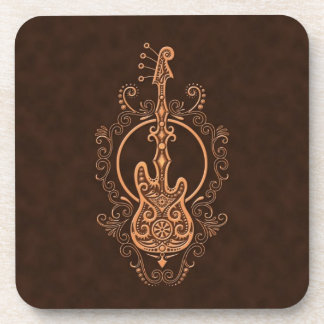 Intricate Brown Bass Guitar Design Beverage Coasters