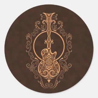 Intricate Brown Guitar Design Classic Round Sticker