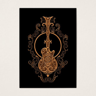 Intricate Brown Guitar Design on Black Business Card