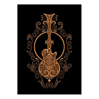 Intricate Brown Guitar Design on Black Business Cards