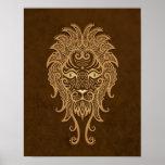 Intricate Brown Leo Zodiac Poster