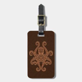 Intricate Brown Octopus Bag Tag