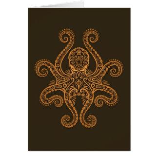 Intricate Brown Octopus Greeting Card