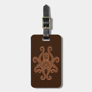 Intricate Brown Octopus Travel Bag Tag