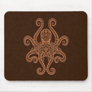 Intricate Brown Octopus Mouse Pad