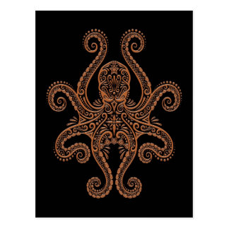 Intricate Brown Octopus on Black Postcard