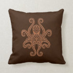 Intricate Brown Octopus Pillow