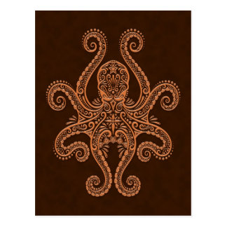 Intricate Brown Octopus Postcard