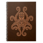 Intricate Brown Octopus Spiral Notebook