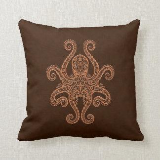 Intricate Brown Octopus Throw Pillow