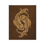 Intricate Brown Pisces Zodiac Stretched Canvas Print