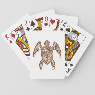 Intricate Brown Sea Turtle on White Deck Of Cards