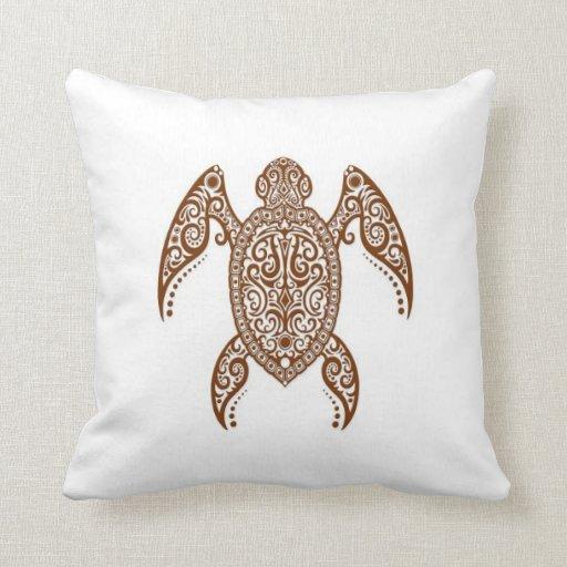 Intricate Brown Sea Turtle on White Throw Pillow