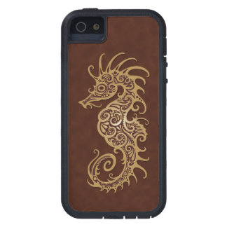 Intricate Brown Seahorse Design iPhone 5 Covers