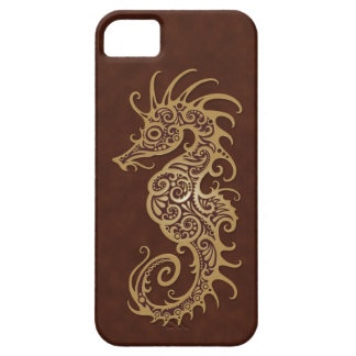 Intricate Brown Seahorse Design iPhone 5 Cases