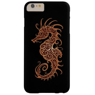 Intricate Brown Seahorse Design on Black Barely There iPhone 6 Plus Case