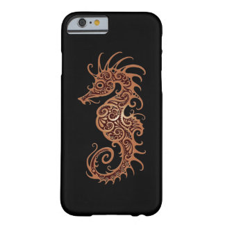 Intricate Brown Seahorse Design on Black Barely There iPhone 6 Case